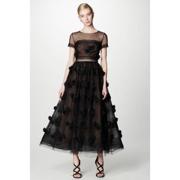 db307d339f3 Marchesa Dresses | Notte Black 3d Floral Dress | Poshmark